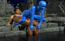 Sexy Blue Alien Fucked By Muscled Man